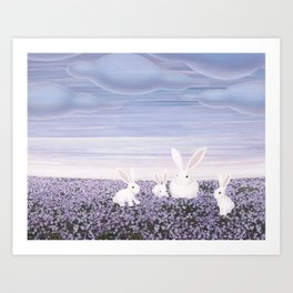 white rabbits and purple flowers Art Print