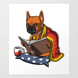 French Bulldog Book Reading Dog Art Print