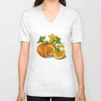 pumpkin V-neck T-shirts featuring Pumpkin by ElenaTerrin