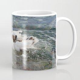 Duck Splashing Water Creating Ripples on Riverbank Coffee Mug