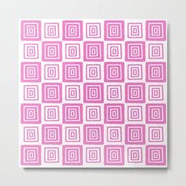 Mid Century Modern Geometric Checker 821 Pink Metal Print