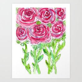 Pink Ranunculus watercolor Art Print