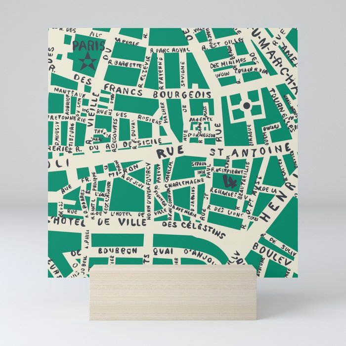 PARIS MAP GREEN Mini Art Print