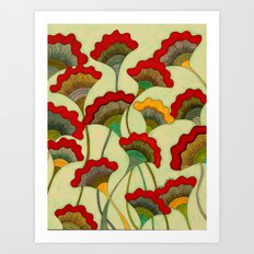 Poppies (warm) Art Print