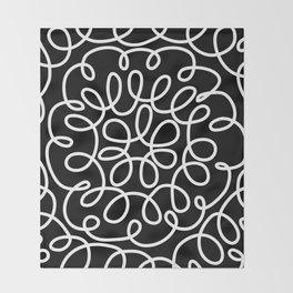 Hand drawn flower doodle circles Throw Blanket