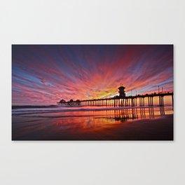Sunset Huntington Beach Pier CA   Canvas Print