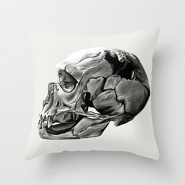 Neanderthal Skull Throw Pillow