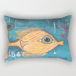 Fish In Blue Rectangular Pillow