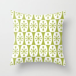 Mid Century Modern Atomic Fusion Pattern Chartreuse Throw Pillow