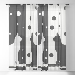 Cats,Black and White 82 Sheer Curtain