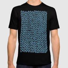Hand Knit Niagra Blue Black MEDIUM Mens Fitted Tee