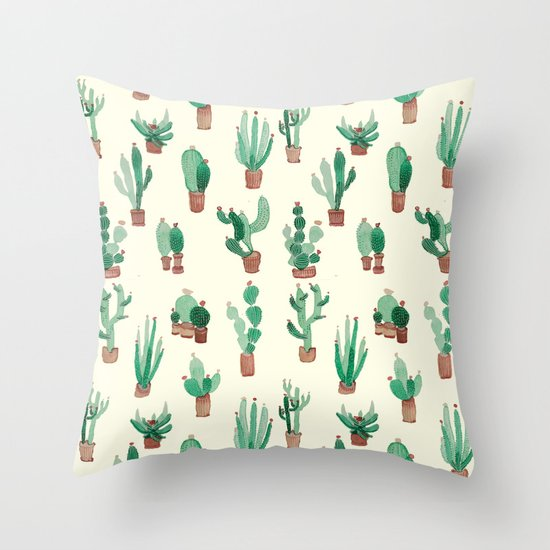 Litle Watercolor Pocket Cactus Throw Pillow By