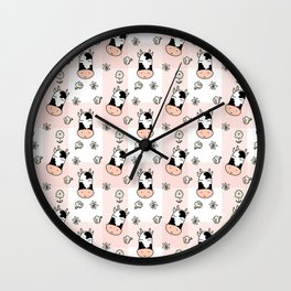 CUTE COW PLAID Wall Clock