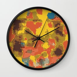 vintage psychedelic geometric painting texture abstract in orange yellow brown blue Wall Clock