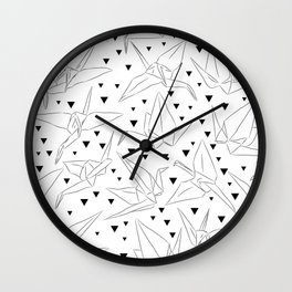 Japanese Origami white paper cranes sketch, symbol of happiness, luck and longevity Wall Clock