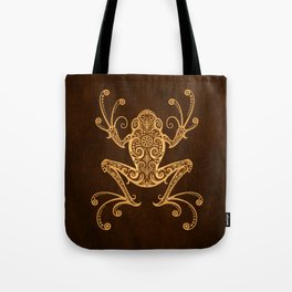Intricate Golden Brown Tree Frog Tote Bag