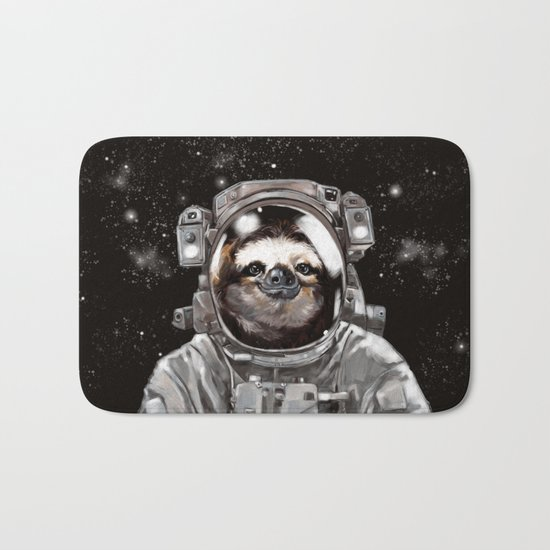 Astronaut Sloth Selfie Bath Mat by Big Nose Work | Society6