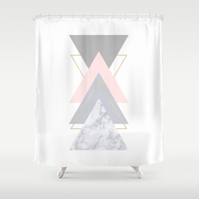 Blush Marble Gray Gold Geometric Pattern Shower Curtain