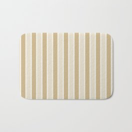 Large Vertical Christmas Burnished Matte Gold and White Bed Stripes Bath Mat