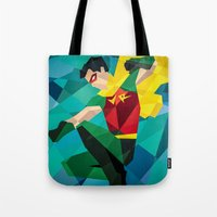 dc comics Tote Bags featuring DC Comics Robin by Eric Dufresne