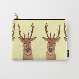 Deer Head | Horizontal Repeat Pattern | Yellow Carry-All Pouch