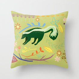 Skunky Wonderland Throw Pillow