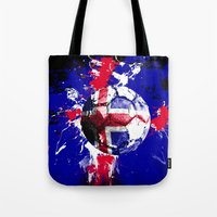 iceland Tote Bags featuring football Iceland by seb mcnulty