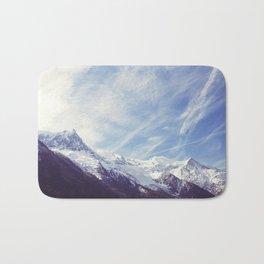 Mountain Mont Blanc view from Chamonix, France Bath Mat