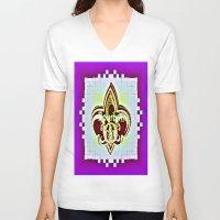 fleur de lis V-neck T-shirts featuring Fleur De Lis Purple  by Tina Vaughn