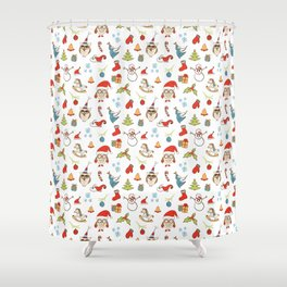 Christmas Pattern with cute owls, candy, deer, mistletoe, angel and Christmas tree. Shower Curtain