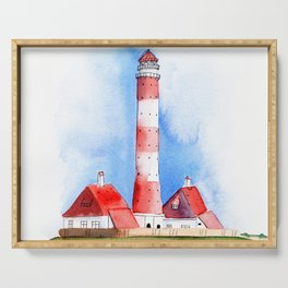 Lighthouse Watercolor Painting Serving Tray