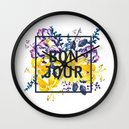 Bonjour floral print Wall Clock