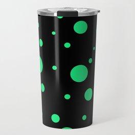 Green Bubbles On Black Travel Mug