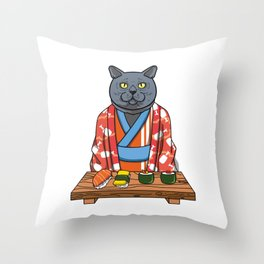 Kawaii Japanese British Shorthair Cat Kimono Sushi Throw Pillow