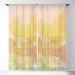 abstract spring sun Sheer Curtain