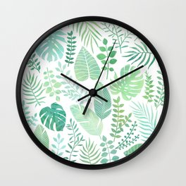 Green tropical leaves pattern Wall Clock