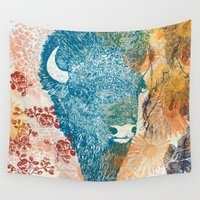 bison Wall Tapestries featuring Blue Bison by Supermaggie