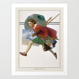 Vintage Poster-Norman Rockwell-Girl Running with Wet Canvas. Art Print