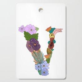 Floral Letter V Cutting Board