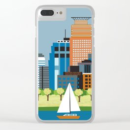 Minneapolis, Minnesota - Skyline Illustration by Loose Petals Clear iPhone Case