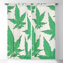 marijuana green pattern on white background Blackout Curtain