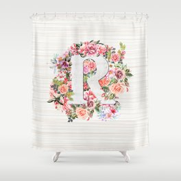 Initial Letter R Watercolor Flower Shower Curtain