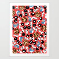 ghibli Art Prints featuring Ghibli Pattern by pkarnold + The Cult Print Shop