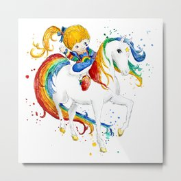 Rainbow Brite Watercolor Metal Print