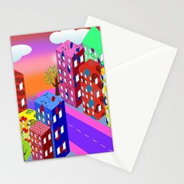 Abstract Urban By Day Stationery Cards
