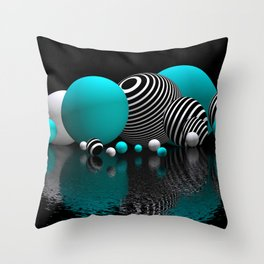 pebble bed -turquoise- Throw Pillow