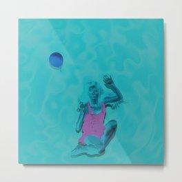 Women and Blue Balloons Metal Print