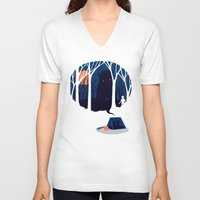 scary V-neck T-shirts featuring Scary story by SpazioC
