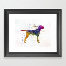 Hungarian Wirehaired Vizsla in watercolor Framed Art Print