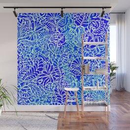 Jungle Garden, Blue Wall Mural